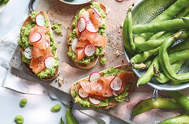 Salmon, avocado and broad bean bruschetta