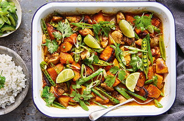 Thai red chicken and squash traybake