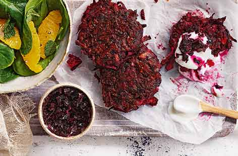 Beetroot and chickpea fritters