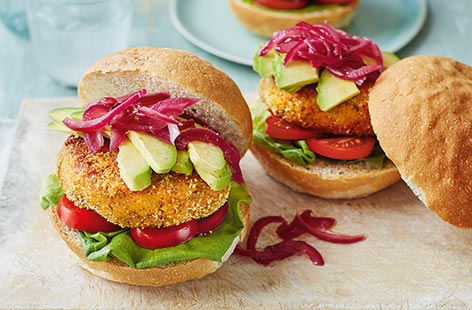 Carrot, cumin and peanut butter burgers
