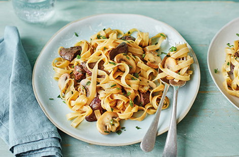 Your jar of Marmite can be used for so much more than just spreading on toast. Melted into butter, Marmite forms a silky sauce that coats tagliatelle and adds a deeply savoury flavour to complement the fried chicken livers and mushrooms.