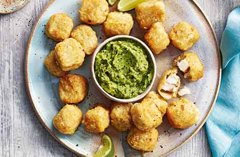 Whip up an easy dinner that the family will love in just 15 minutes by making the most of clever freezer shortcuts. Swap mushy peas for a vibrant pea and avocado dip with plenty of lime, coriander and a dash of chilli for the perfect accompaniment to golde