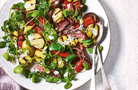 Peppered steak and potato salad