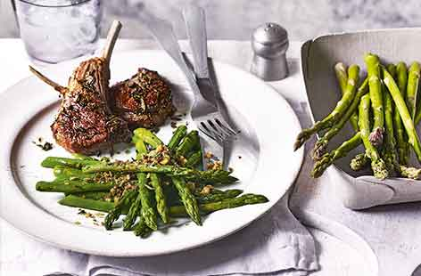 This easy spring lunch is a great way to feed family and friends at the weekend. Roasting lamb chops is much easier than juggling frying pans and takes the hassle out of achieving juicy perfectly-cooked meat every time.