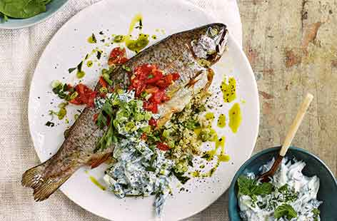 Stuffed trout with cucumber and mint yogurt