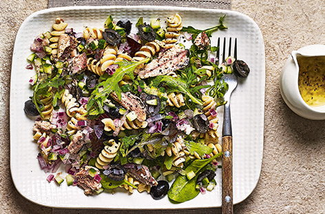 Zesty, punchy and ready in just 15 minutes, this pasta salad is a real lunch time winner.