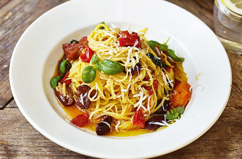 Try Jamie Oliver's speedy vegetarian pasta recipe with tomatoes and olives for a great dinner for two.