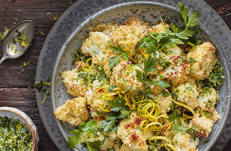 Almond-crusted cauliflower with gremolata