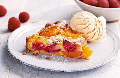 Apricot and raspberry clafoutis