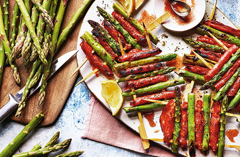 Asparagus and chorizo skewers
