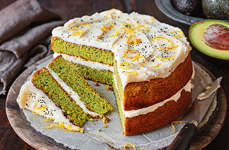 Avocado, lemon and poppy seed cake