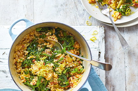 Baked chorizo and spring greens risotto