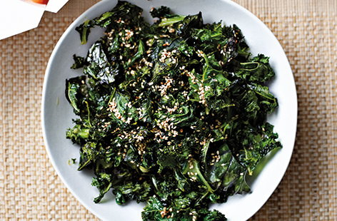 When baked in the oven, kale goes gloriously crispy as this Chinese-inspired recipe shows. Here the leaves are coated in oil then baked with sesame seeds and five-spice sprinkled over the top. Don't be tempted to add salt as kale, cooked this way doesn't need it.