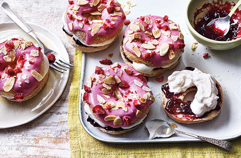 These pretty pink Bakewell tart-inspired doughnuts are easy to make and perfect for sharing