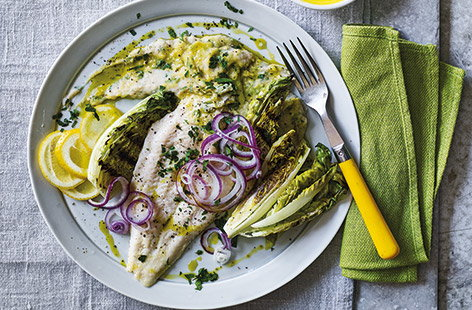 Get more fish into your diet with this elegant midweek meal that can be on the table in just 25 minutes. Baked basa fillets are served with a garlicky lemon cannellini mash and gem lettuces which are griddled for a delicious charred flavour.