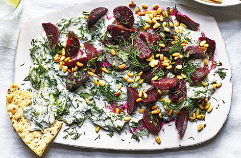 Beetroot with herby tzatziki
