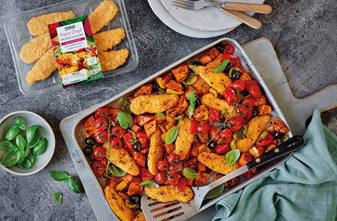 For a one-pan family meal, try this Mediterranean goujon traybake. Swap chicken goujons for Tesco Plant Chef breaded goujons and roast with sweet potatoes, peppers, olives and juicy vine tomatoes as an easy vegan dinner.