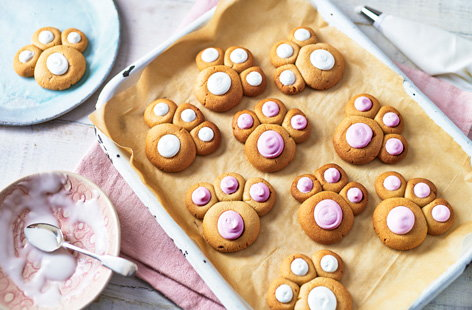 Shaped like cute bunny paw prints, these easy Easter biscuits make a fun baking project to try with the kids or to make for family and friends