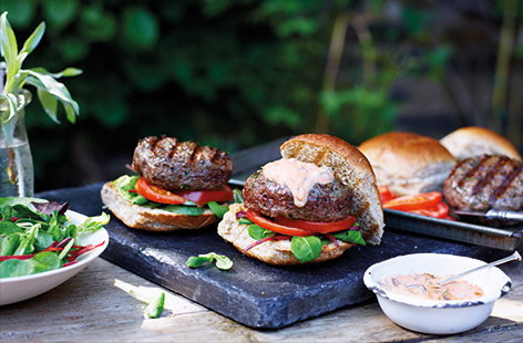 Bring on barbecue season with these healthy burgers that have tons of meaty flavour despite using lean minced beef. The trick is to add mushrooms to the burger mix, as they have a deep, savoury flavour and help keep the meat moist without extra fat.