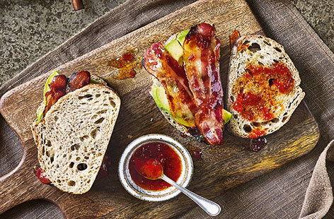 Caramelised bacon and chilli jam sarnies