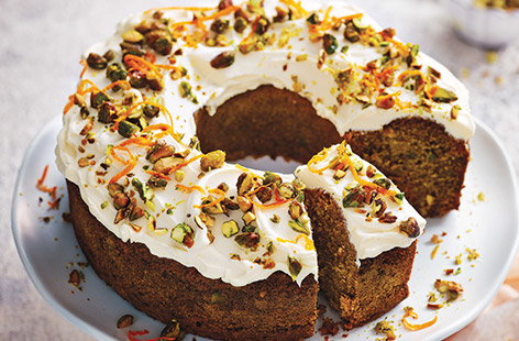 Carrot, pistachio and maple cake