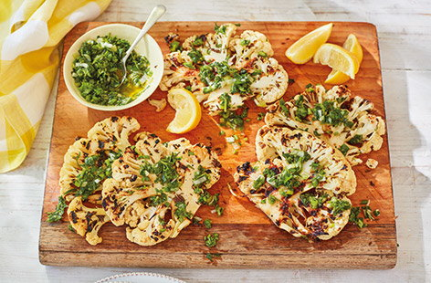 BBQ cauliflower steaks and herb sauce