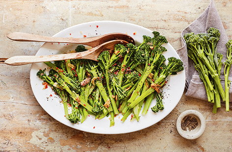 Stir-fried with salty anchovies, garlic and chilli, this Tenderstem broccoli is a winning side dish for autumn.