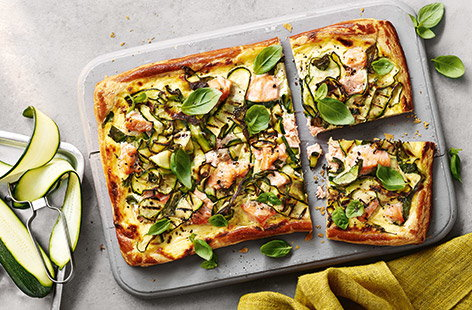 Charred courgette and salmon tart