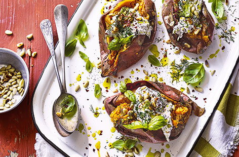 Charred sweet potatoes with tahini yogurt