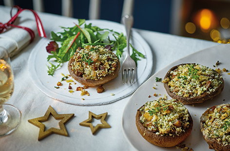 Chestnut-stuffed mushrooms with walnut crumb