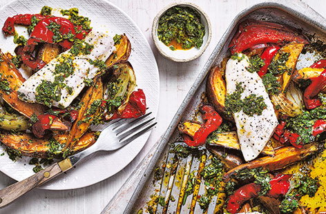 With a homemade chimichurri sauce and flaky basa fillets, this vibrant traybake recipe really spices up dinnertime