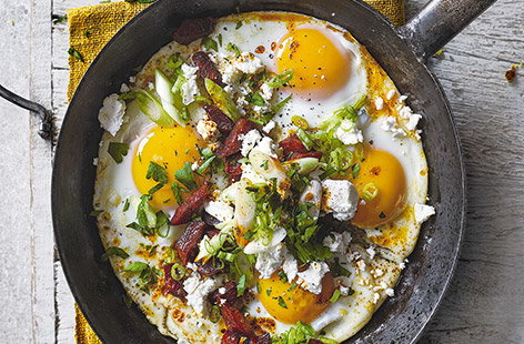 Chorizo and feta eggs