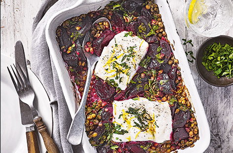 Earthy beetroot is a welcome addition to this flavourful fish supper. Creamy green lentils, fiery horseradish and zesty parsley provide the perfect base for flaky cod and a squeeze of lemon makes these wonderful flavours truly sing