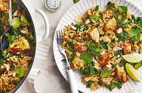 Pilaf is a traditional Indian dish in which rice is cooked in a tasty broth to absorb extra flavour, and this delicious chicken version is really packed full with aromatic herbs and spices.