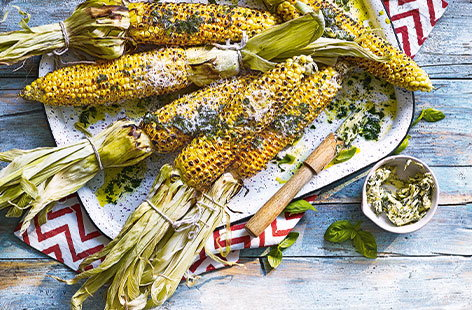 Corn with Parmesan and basil butter