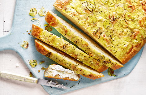 Give homemade bread a go with this easy focaccia recipe. With a soft, springy centre and crisp crust topped off with seasonal new potatoes, this fragrant focaccia is a summer winner. Pack up for picnics or serve as a sharing starter.