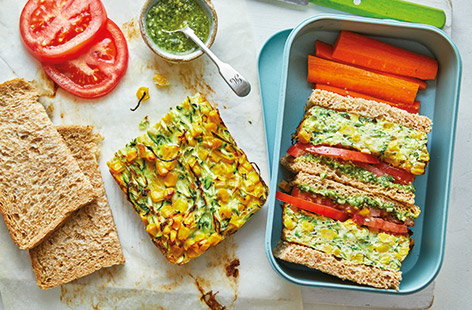Sweetcorn and courgette frittata sandwiches