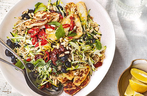 Courgette, couscous and halloumi salad