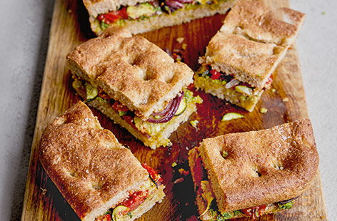 Courgette, tomato and red onion focaccia