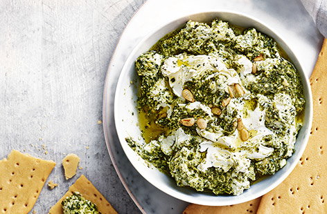 Creamy feta and pesto dip