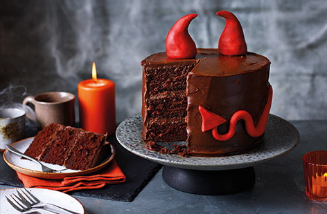 Your Halloween party will be complete with this truly spook-tacular Devil's food cake! Three layers of moist chocolate sponge are sandwiched with rich, dark chocolate ganache for a really indulgent treat