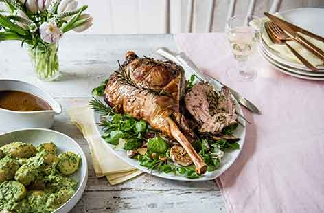 Roast leg of lamb stuffed with watercress and anchovies