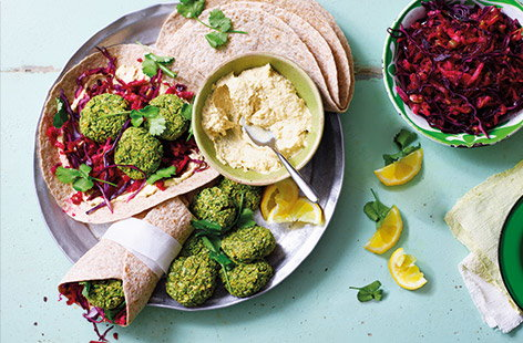 Falafel wraps with beetroot and apple slaw