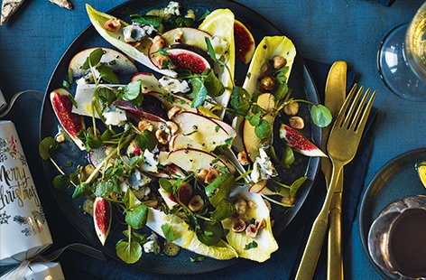 Sweet, syrupy figs pair wonderfully with crumbly blue cheese in this sophisticated no-cook Christmas starter