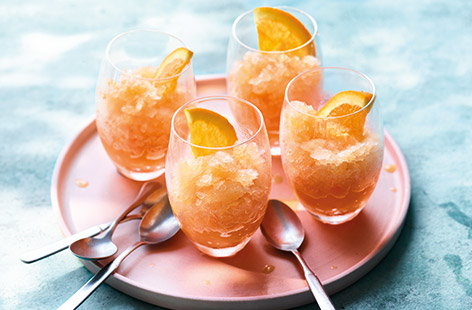 Aperol, orange and prosecco granita