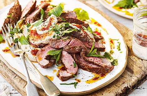 Grilled lamb with houmous and harissa