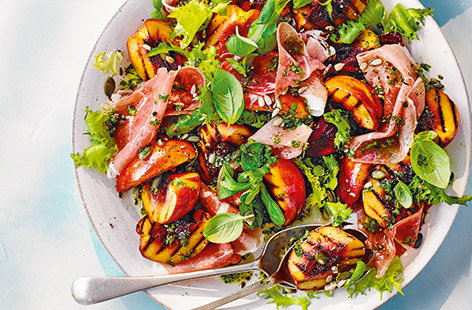 Griddled nectarine and ham salad with basil dressing