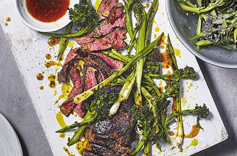 Griddled steak and purple sprouting broccoli with sticky mango sauce