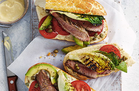 Griddled steak and charred Little Gem sandwiches