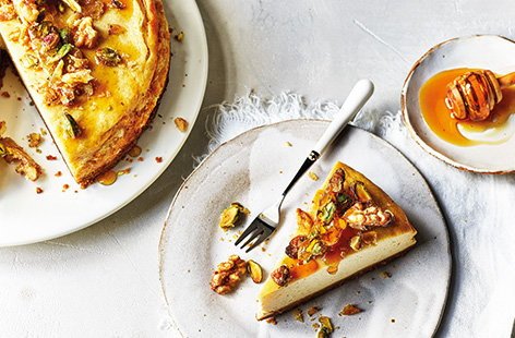 Baked fig, honey and walnut cheesecake